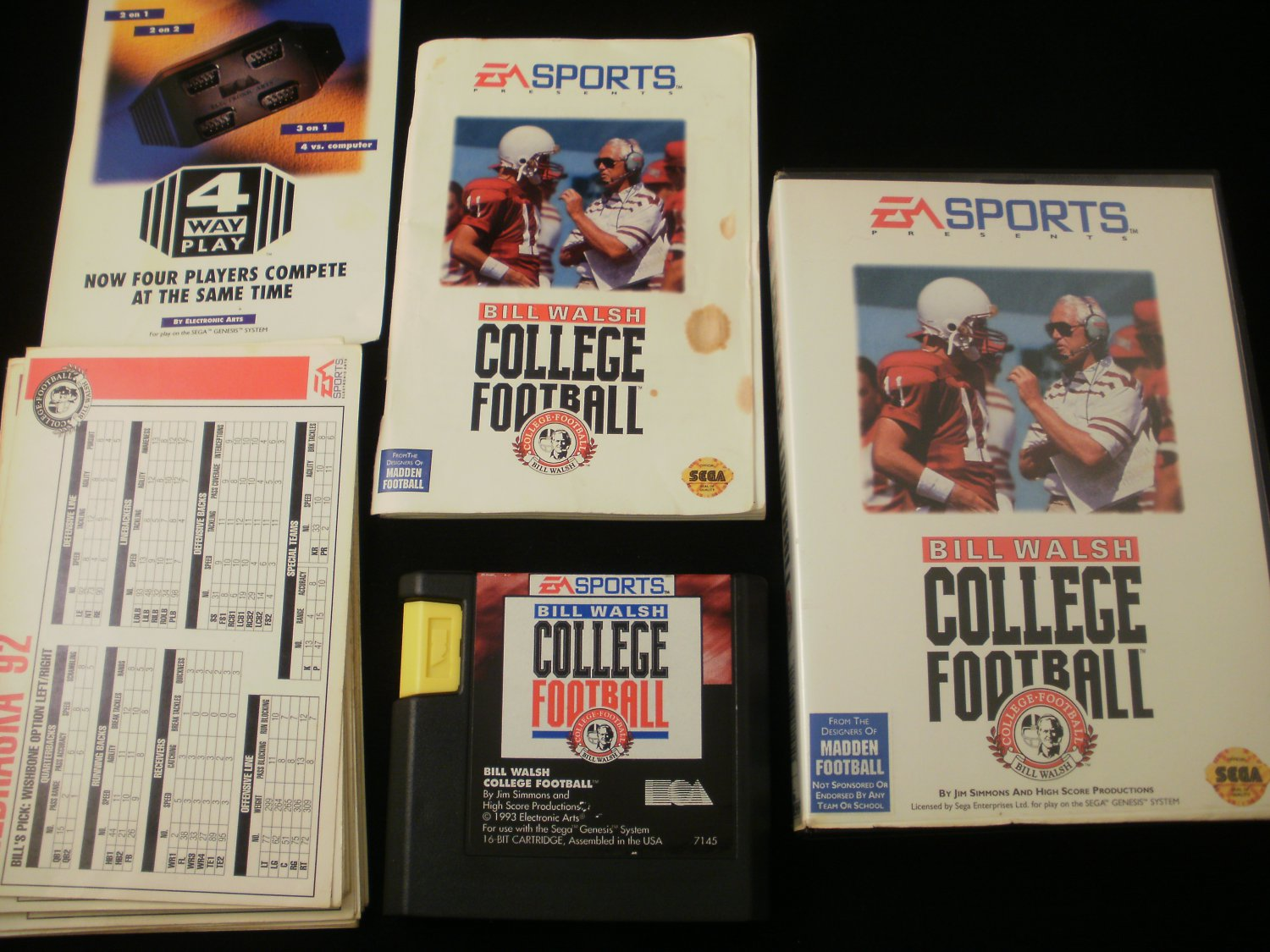 Bill Walsh College Football - Sega Genesis - Complete With All Team Cards