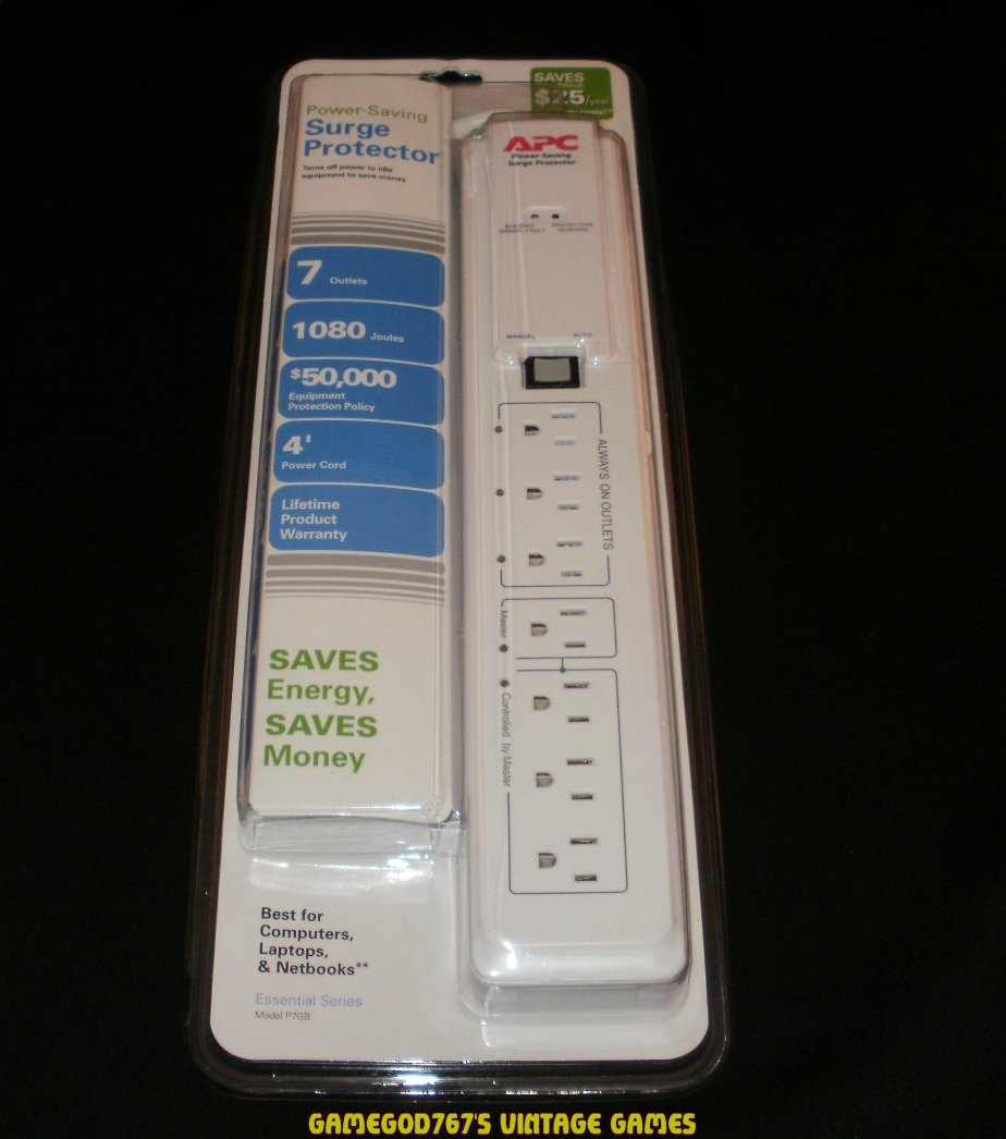 7 Outlets 120V Power-Saving Essential Surge Protector - APC P7GB - New Factory Sealed