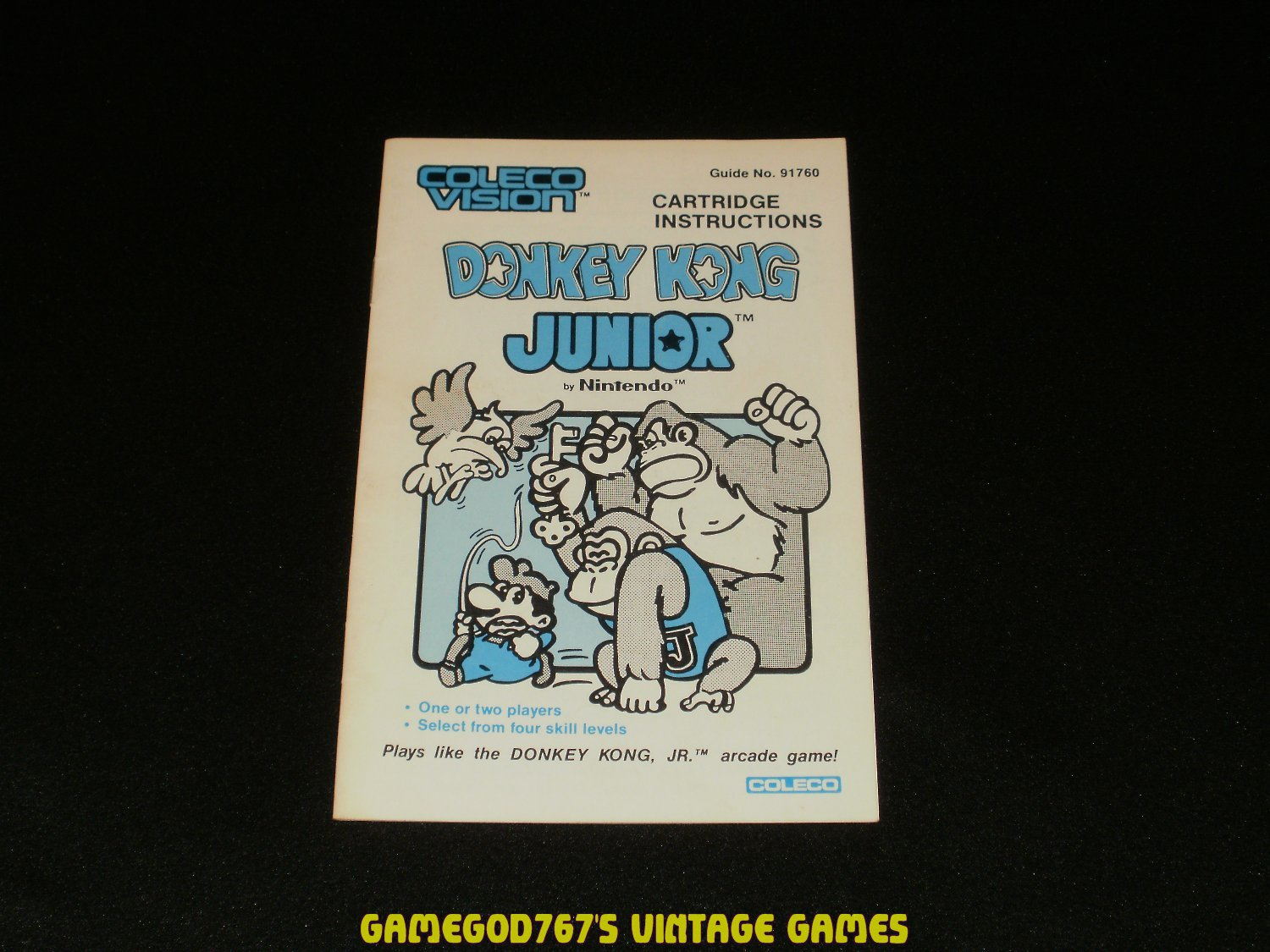 Donkey Kong Junior - ColecoVision - 1983 Manual Only