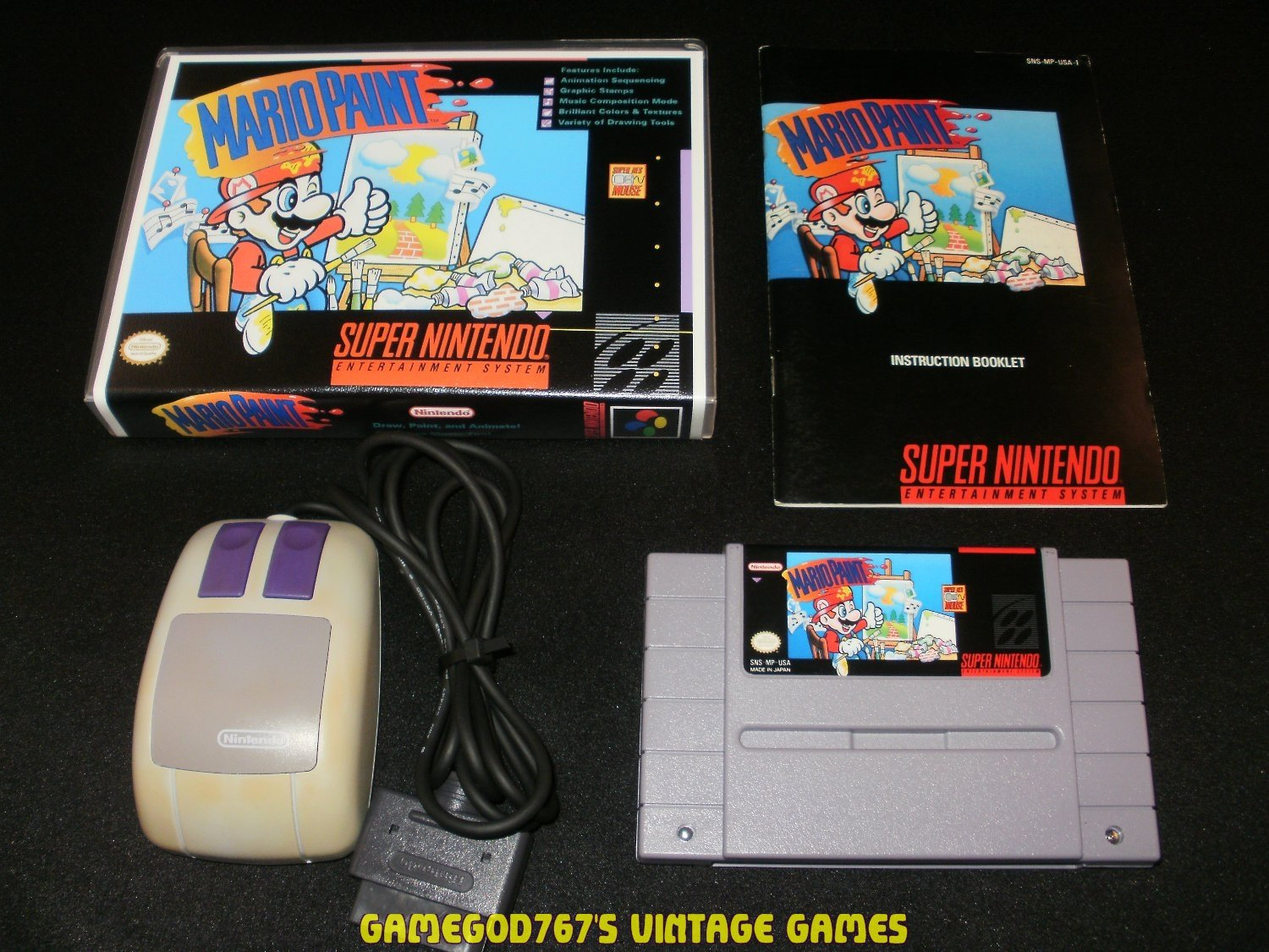 Mario Paint - SNES Super Nintendo - With Manual, Mouse & Custom Case