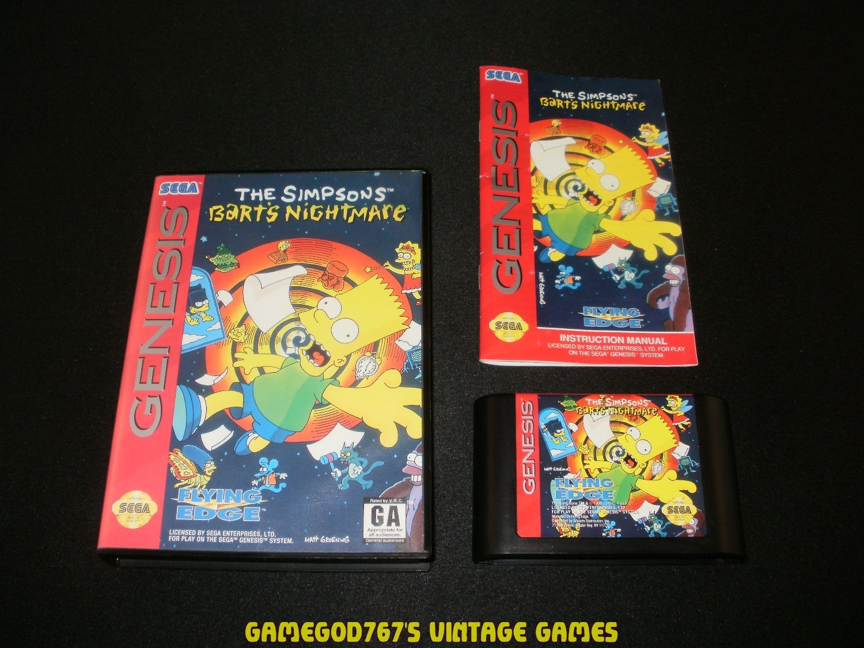 The Simpsons Bart's Nightmare - Sega Genesis - Complete CIB