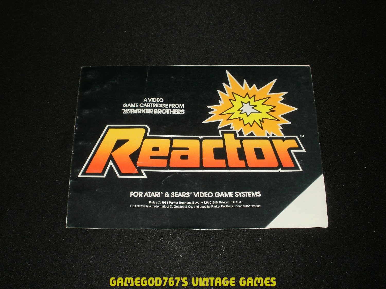 Reactor - Atari 2600 - 1983 Manual Only