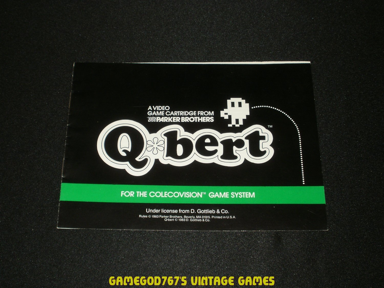 Qbert - ColecoVision - 1983 Manual Only