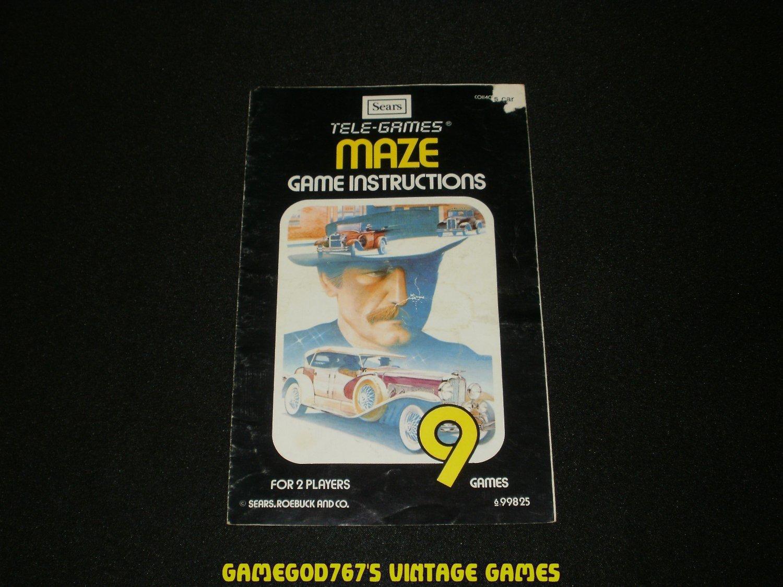 Maze - Atari 2600 - 1980 Manual Only