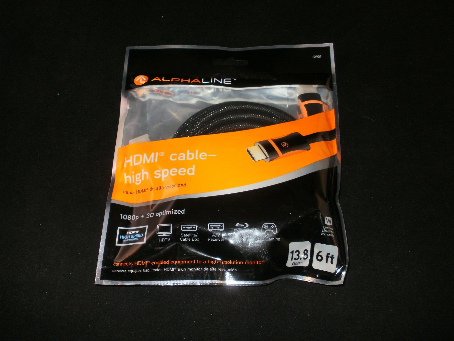 Alphaline 6 Foot 1080p 3D Optimized High Speed HDMI Cable - Brand New
