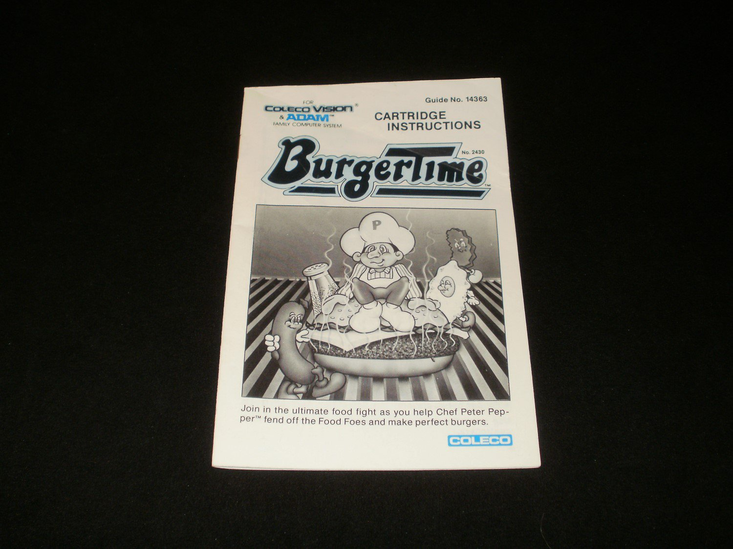 Burgertime - ColecoVision - Manual Only - Rare
