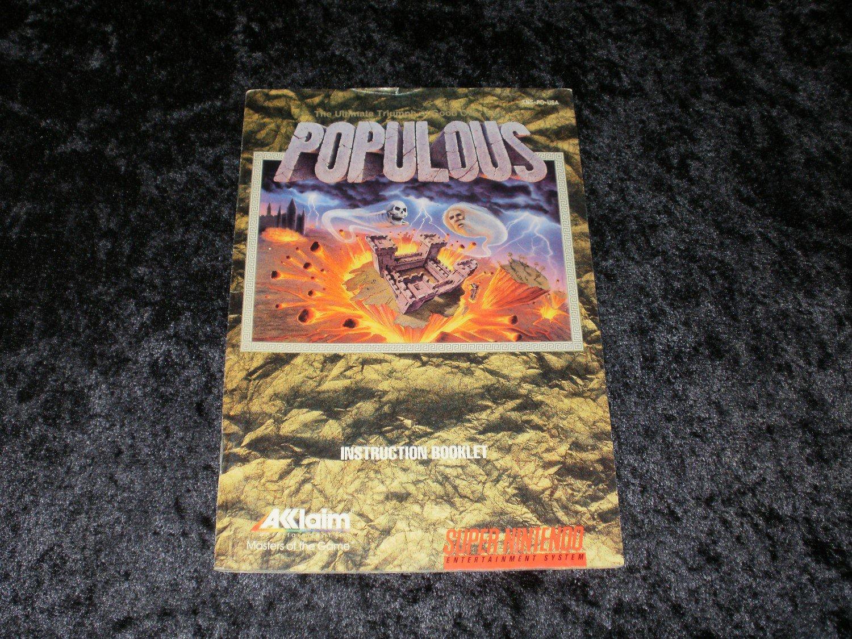 Populous - SNES Super Nintendo - 1991 Manual Only