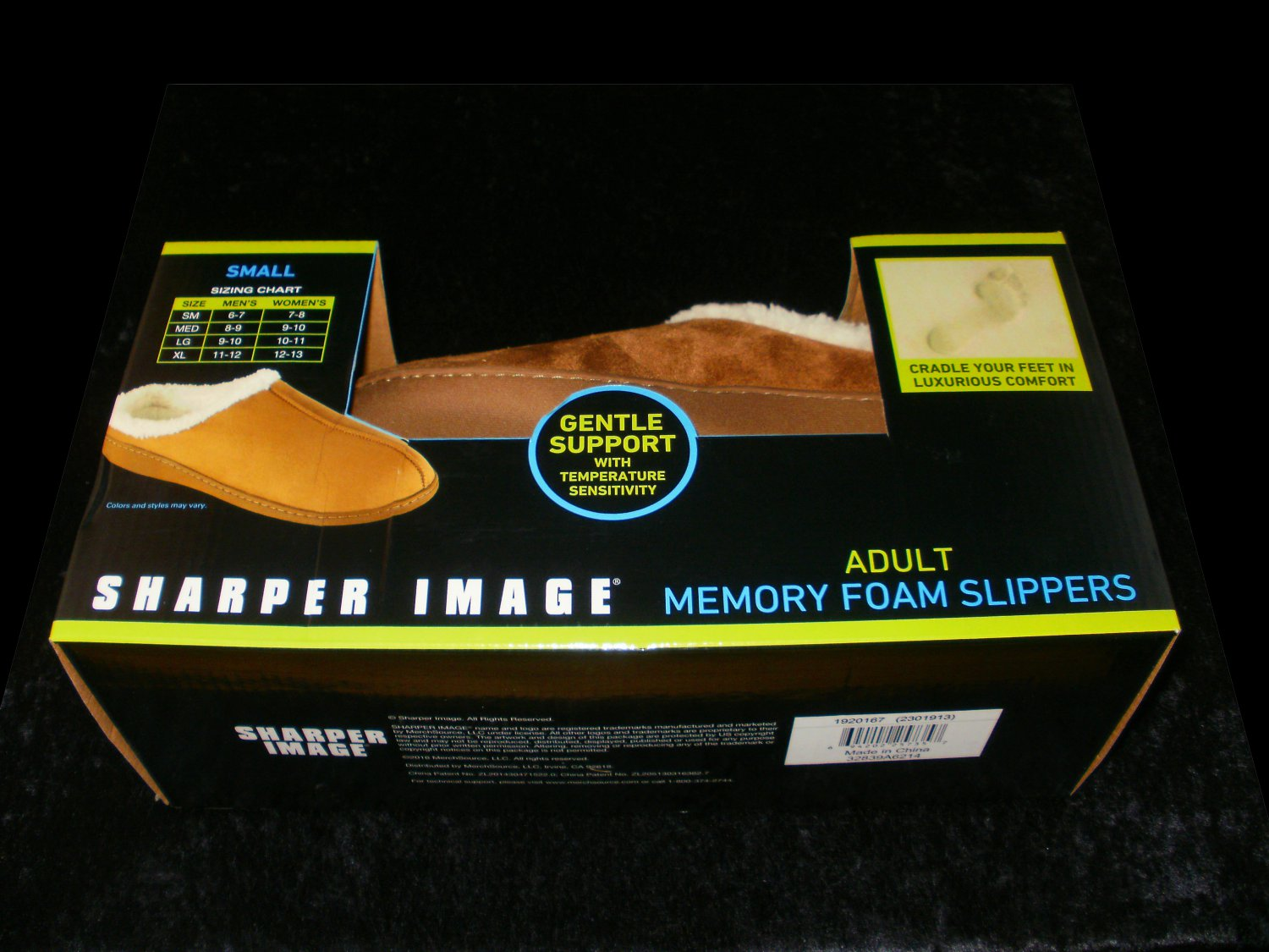Memory Foam Slippers - 2016 Sharper Image - Size Small 6-7 Mens 7-8 Women - Brand New