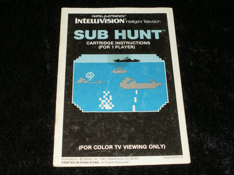 Sub Hunt - Mattel Intellivision - Manual Only