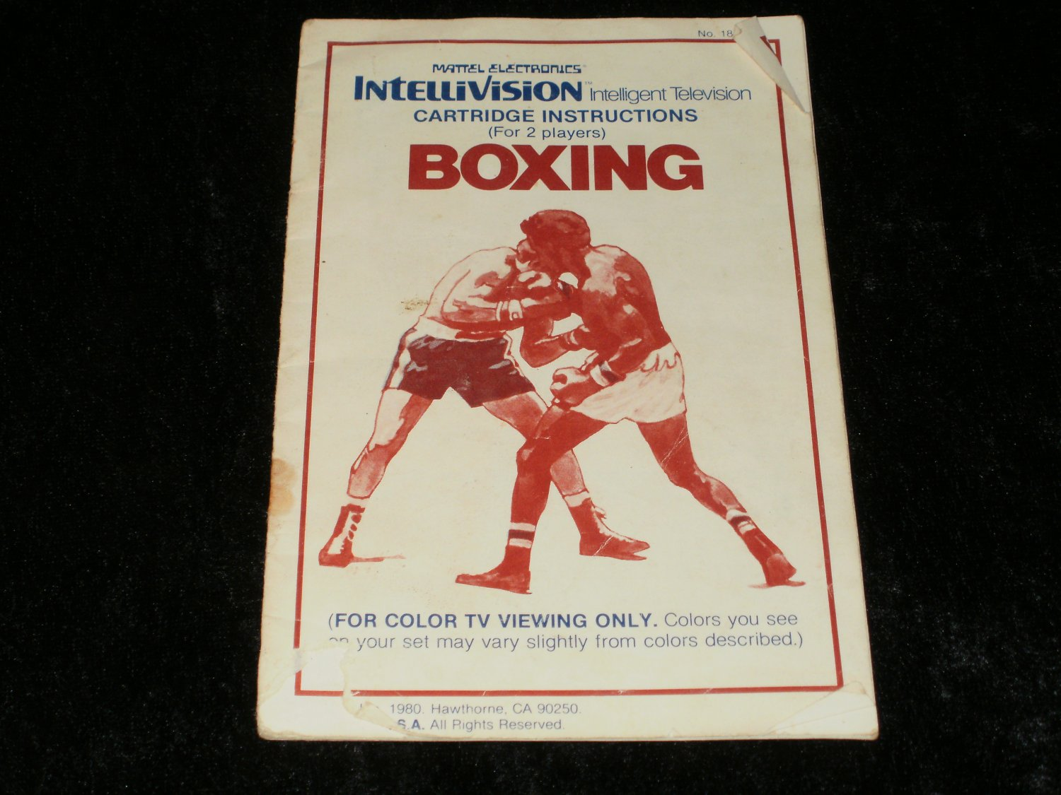 Boxing - Mattel Intellivision - Manual Only