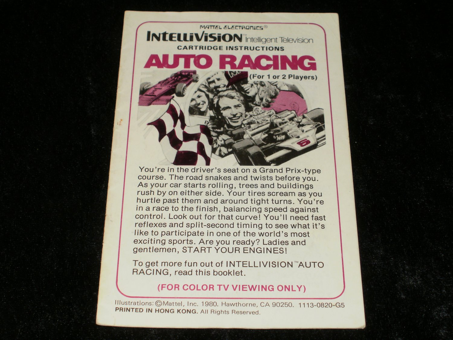 Auto Racing - Mattel Intellivision - Manual Only