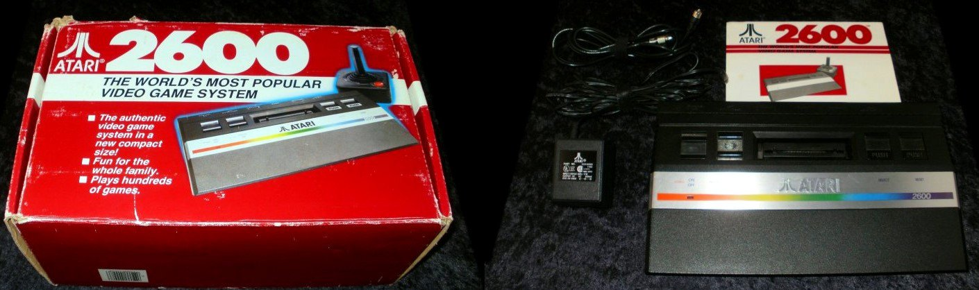 Atari 2600 Jr System - Complete CIB - 1986 Long Rainbow Version