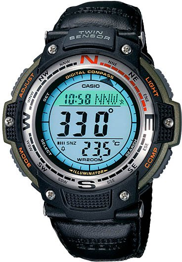 Casio COMPASS Thermometer Watch Cloth Band SGW-100B New
