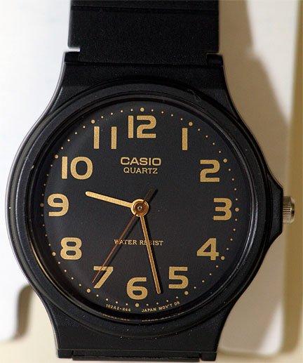 Casio Thin Black & Gold Analog Watch MQ24-1B2 NEW