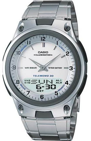 Casio Databank Duo World Time Watch Steel Band AW80D-7