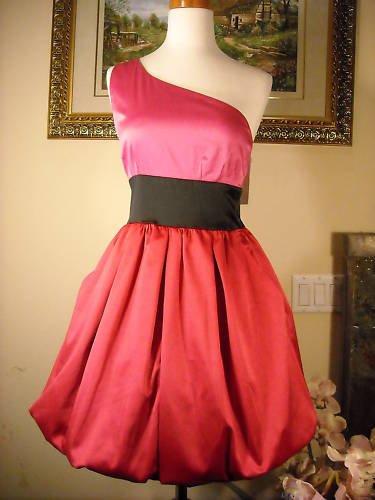 AQUA ONE-SHOULDER RED/PINK BUBLE DRESS NWT S  $188