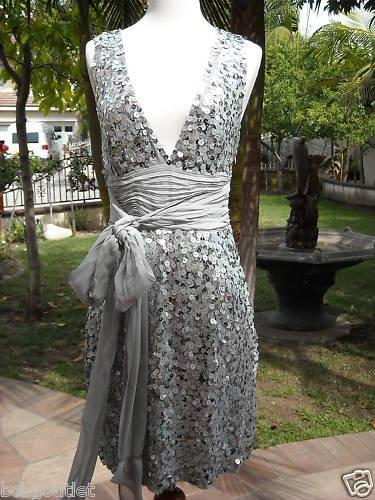 BCBG SILVER SEQUINS FANCY EVENING DRESS SIZE 4 NWT $540