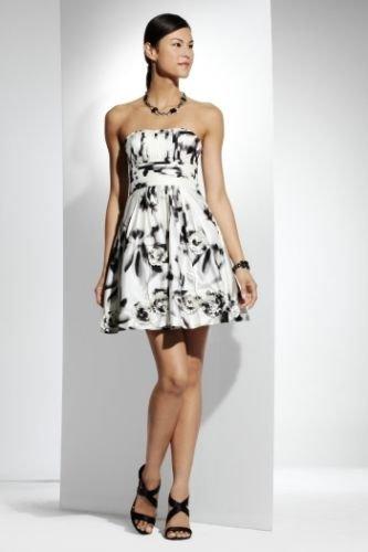 BCBG STRAPLESS PRINTED TAFFETA DRESS NWT Size 4 $458