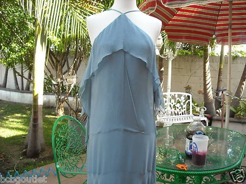 BCBGMAXAZRIA CUTE BLUE CHIFFON  EVENING GOWN NWT S $328