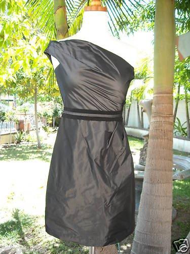BCBG ONE-SHOULDER METALIC BLACK DRESS NWT SIZE 2 $158