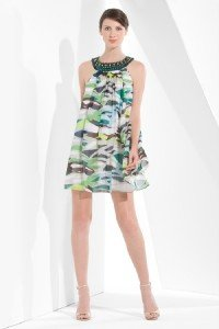 $298 BCBG PRINTED SILK TRAPEZE DRESS Size 2 NWT