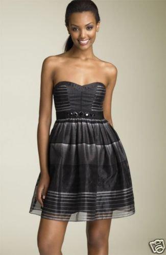 $318 BCBGMAXAZRIA Strapless Stripe Organza Dress 0 NWT