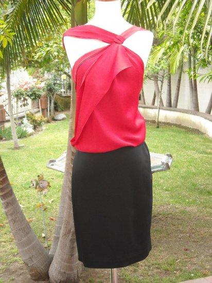 BCBGMAXAZRIA Draped RED/BLACK Contrast Dress 4 NWT $198