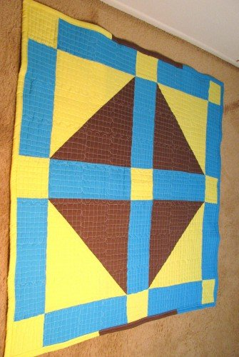Turquoise Yellow Brown Baby Quilt