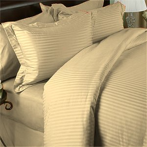 SHEET SET 100%EGYPTIAN COTTON QUEEN 1000 TC SATIN BEIGE STRIPE