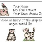 Personalized Black & White Striped CAT Address LABELS