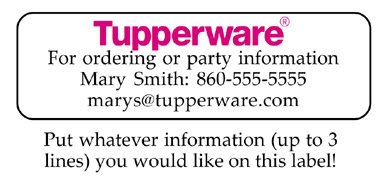Personalized TUPPERWARE REPRESENTATIVE ADDRESS LABELS
