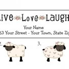 Personalized SHEEP ADDRESS LABELS * Live, Love, Laugh *