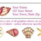 Personalized SEA SHELLS Address LABELS Beach / Ocean