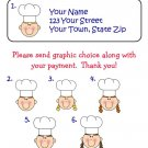 Personalized Stick Figure CHEF / BAKER Address LABELS