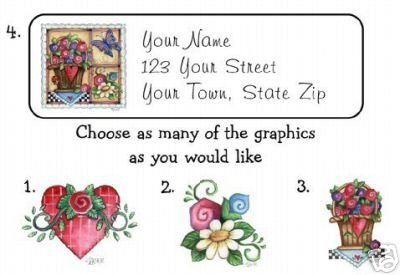 Personalized Country FLOWERS and HEARTS Address LABELS