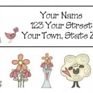 Personalized Country PRIM ADDRESS LABELS Flowers, sheep