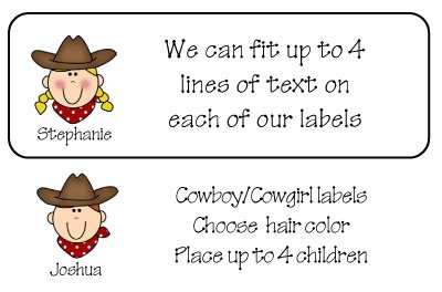 Personalized COWBOY or COWGIRL ADDRESS LABELS - So Cute