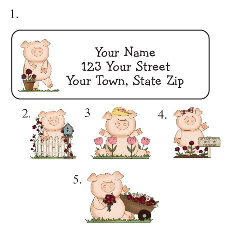 Personalized COUNTRY Garden Pigs PIGGIES ADDRESS LABELS