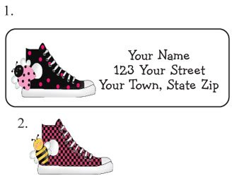 Personalized GILRY Pink/Black HI-TOPS ADDRESS LABELS