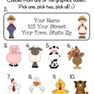 Personalized BARNYARD ANIMALS Address Labels for Kids
