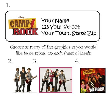Personalized CAMP ROCK Jonas Brothers ADDRESS LABELS