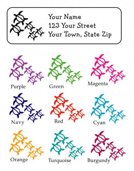 Personalized SEA TURTLE FAMILY ADDRESS LABELS