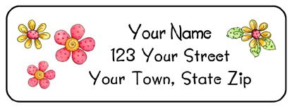 Personalized Cute PINK & YELLOW FLOWERS Address LABELS
