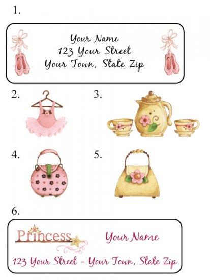 Personalized Princess,Ballet,Girlie,Tea ADDRESS LABELS