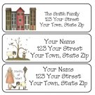 Personalized Prim Houses, Sheep & Doll ADDRESS LABELS