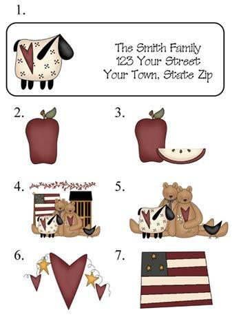 Personalized PRIM ADDRESS LABELS Sheep, Teddy Bears