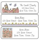 Personalized KITTY CAT and FLOWERS ADDRESS LABELS