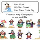 Personalized HAWAIIN TROPICAL PENGUINS Address LABELS