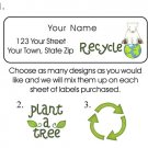 Personalized RECYCLE Earth  Plant a Tree ADDRESS LABELS