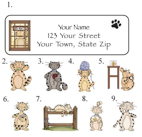 Personalized PRIM CATS, KITTIES, KITTY ADDRESS LABELS